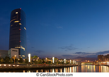 River nervion, Abandoibarra, Bilbao, Bizkaia, Basque...