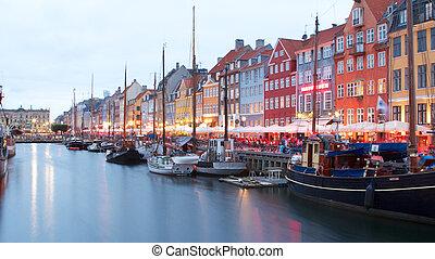 Copenhagen Nyhavn - the new harbor (Nyhavn) in Copenhagen....