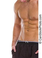closeup, abdominal, músculos