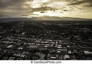 Las Vegas - View of Las Vegas at sunset from the tower of...