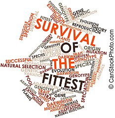 Survival of the Fittest - Abstract word cloud for Survival...