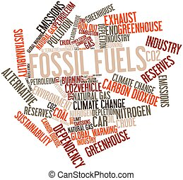 Fossil fuels - Abstract word cloud for Fossil fuels with...