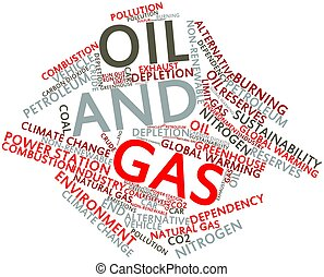 Oil and Gas - Abstract word cloud for Oil and Gas with...