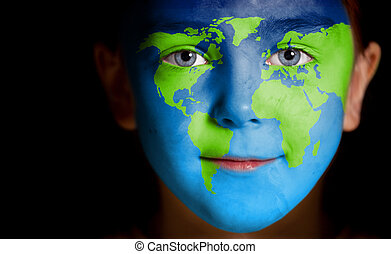 child with a painted world map
