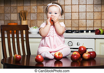 Healthy eating - Little girl on table at kitchen eating an...