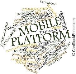 móvel, plataforma, palavra, nuvem