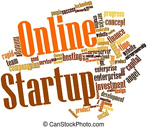 Online Startup - Abstract word cloud for Online Startup with...