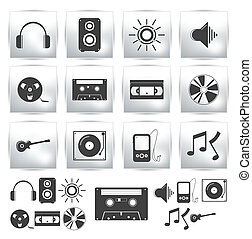 Vector icons set . Music sound - Vector icons set . Music...