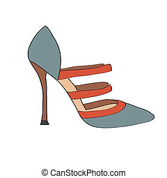 Shoes on a high heel