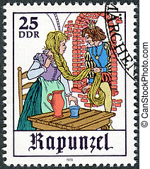 """-, cena, conto,  """"rapunzel"""", Alemanha,  1978:, fada, mostra"""