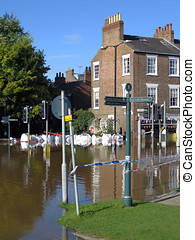 Flooded York City Street - Flooded Tower Street, in York...