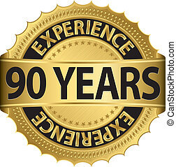 90 years experience golden label with ribbon