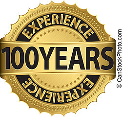 100 years experience golden label with ribbon