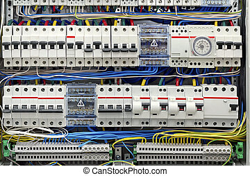 electrical panel with fuses closeup