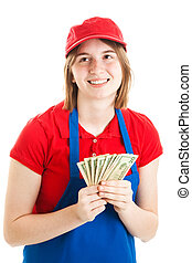 Teenage Worker with Money - Teenage girl in her work...
