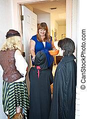 Halloween Goblins at the Door