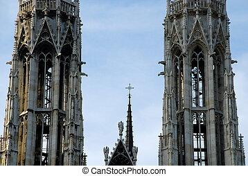 Towers of the Votivkirche, Vienna - The Votive Church...