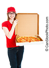 Pizza Girl Makes Delivery - Pretty pizza delivery girl...