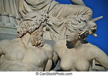 Statue at the Austrian Parliament - The Austrian Parliament...