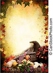 Thanksgiving Cornucopia - Photo based illustration of an...