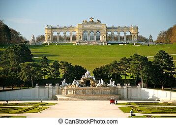 Gloriette, Schonbrunn park, Vienna - The garden axis points...