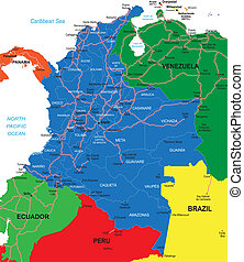 Colombia map - Detailed vector map of Colombia with country...