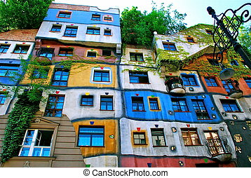 Hundertwasser Haus in Vienna - The Hundertwasserhaus is an...