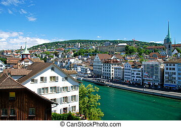 View of Zurich from the Cathedral - Zurich is the largest...