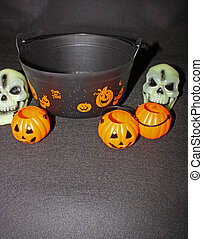 Hanging around the trick or treat pot - An image showing the...
