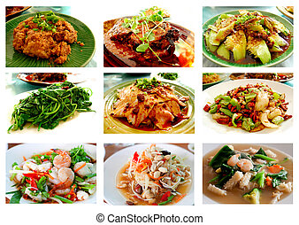 Thai and Chines food - Collage from Photographs of Thai and...