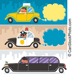 Cars - Taxi, police car and limousine, and their drivers No...