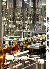 liquid filling machines in Whiskey industry plant