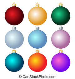 Christmas balls. Christmas decorations. - Set of Christmas...