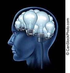 Creative Human Brain - Creative human brain with a side...