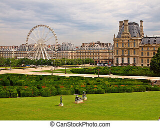 The Louvre Museum and labyrinth in Paris city - The Louvre...