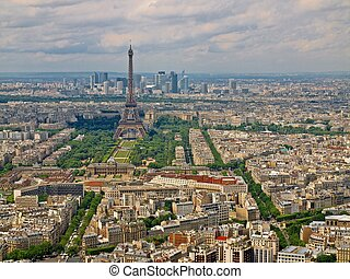 Paris city aerial view from Montparnasse tower. Eiffel tower