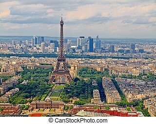 View from Montparnasse tower to the Paris city. France.