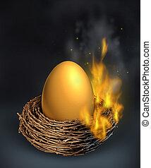 Savings Crisis - Savings crisis with a burning golden nest...