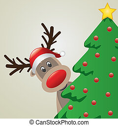 reindeer with santa hat behind christmas tree