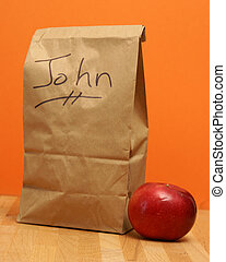 Lunch for John - A brown lunch bags prepared specially for...