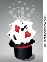 top hat poker - illustration of top hat of the magic with...