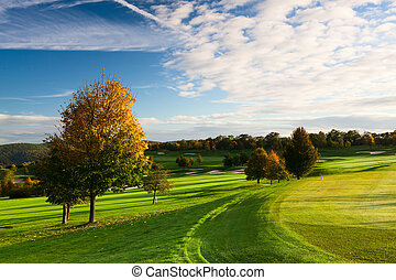 On the golf course in autumn in Czech republic