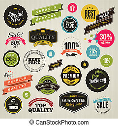 Set of stickers and ribbons - Set of vector stickers and...