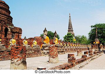 Buddha statue in Wat Yai Chai Mongkol, Ayuttaya, Thailand