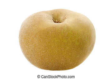 Golden russet apple in front of white background