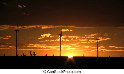 Wind Turbines in Sunset