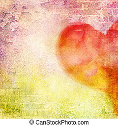 abstract wall, brick, cracked paint and heart. Vintage...