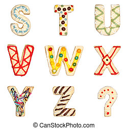 Letters S to Z from decorated cookies - Letters S to Z from...