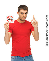 man in red shirt with no smoking sign - picture of serious...