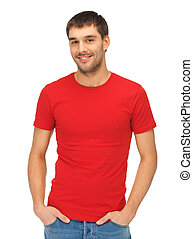 handsome man in red shirt - bright picture of handsome man...